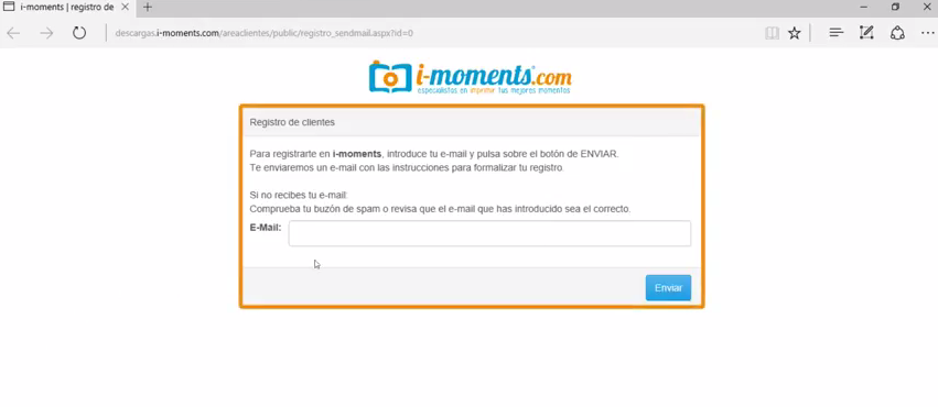 email para registro en i-moments