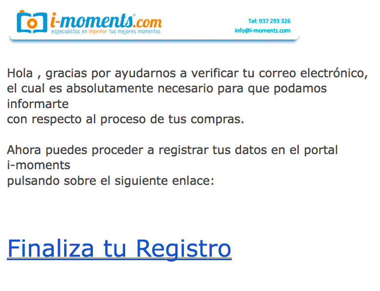 email para finalizar tu registro en i-moments