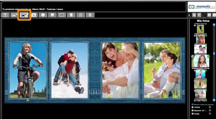 Cómo poner de fondo una de las fotos que has subido al software iMoments