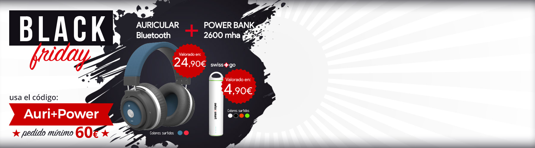 regalo auriculares Bluetooth Power Bank